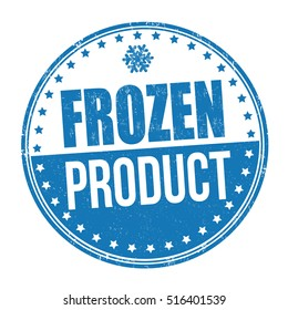 Frozen product grunge rubber stamp on white background, vector illustration
