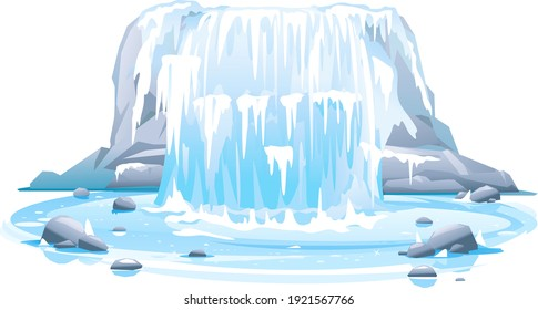 Frozen river waterfall falls from cliff in front view isolated illustration, picturesque tourist attraction with frozen waterfall, natural phenomenon of quite frozen waterfall on steep rocky stream