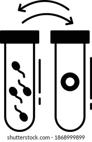 Frozen Sperm and Eggs in Different Tubes Concept, IVF Lab Samples Vector Glyph Icon Design, In Vitro Fertilization Symbol on White Background, Pregnancy and obstetrician Sign,