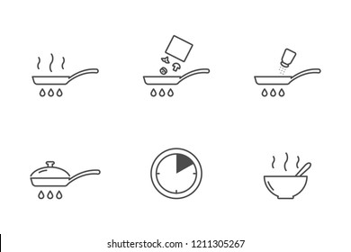 Frozen vegetables cooking vector icons
