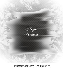 Frozen window background with hoarfrost patterns on checkered background can be used for Christmas sale or New Year Party leaflet. Vector EPS10.