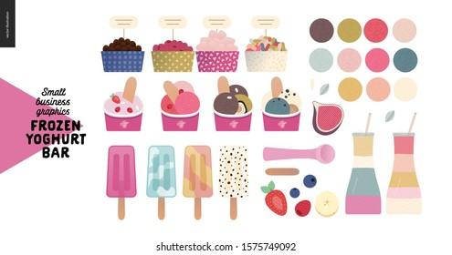 Frozen yoghurt bar - small business graphics - shop elements -modern flat vector concept illustrations - pavement stand, logo, blackboard, branded bag, menu, table, plants, posters, cash register