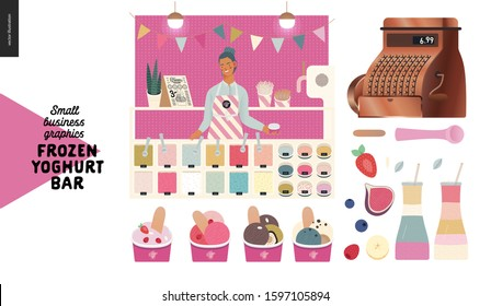 Frozen yoghurt bar - small business graphics - shop owner and shop elements -modern flat vector concept illustrations - young woman wearing apron, bar decoration, cash register, milkashake, ice cream