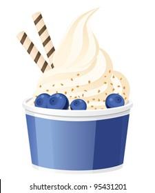 Frozen yogurt with blueberries