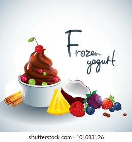 Frozen yogurt with fruit topping