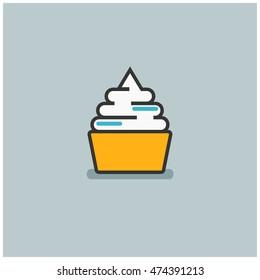 Frozen Yogurt (Line Art in Flat Style Vector Illustration Icon Design)