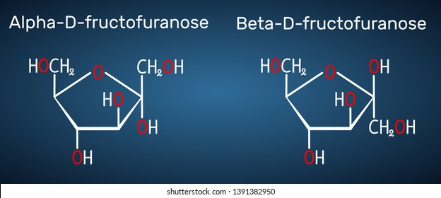 Fructose, alpha-D-fructofuranose, beta-D-fructofuranose molecule. Cyclic form. Structural chemical formula on the dark blue background. Vector illustration