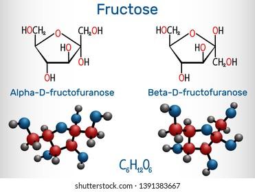 Fructose, alpha-D-fructofuranose, beta-D-fructofuranose molecule. Cyclic form. Structural chemical formula and molecule model. Vector illustration