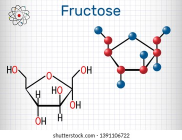 Fructose, alpha-D-fructofuranose molecule. Cyclic form. Structural chemical formula and molecule model. Sheet of paper in a cage.Vector illustration