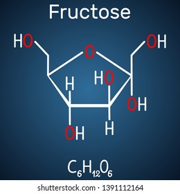 Fructose, alpha-D-fructofuranose molecule. Cyclic form. Structural chemical formula on the dark blue background. Vector illustration