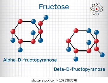 Fructose, alpha-D-fructopyranose, beta-D-fructopyranose molecule. Cyclic form. Structural chemical formula and molecule model. Sheet of paper in a cage. Vector illustration