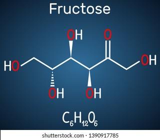 Fructose, D-fructose molecule. Linear form. Structural chemical formula on the dark blue background. Vector illustration