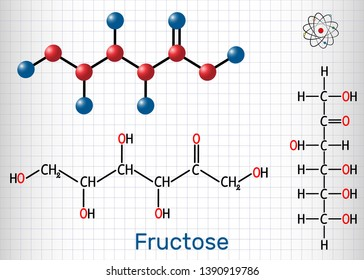 Fructose, D-fructose molecule. Linear form. Structural chemical formula and molecule model. Sheet of paper in a cage.Vector illustration