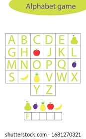 Fruit alphabet game for children, make a word, preschool worksheet activity for kids, educational spelling scramble game for the development of children, vector illustration