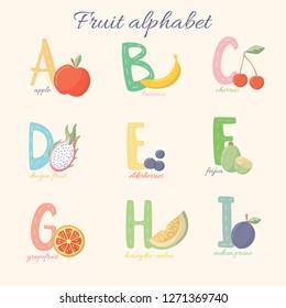 Fruit alphabet from A to I. Vector fruit alphabet. Colorful alphabet for children. Apple, banana, cherries, dragon fruit, elderberries, feijoa, grapefruit, honeydew melon, indian prune