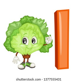 Fruit Alphabet. I is for Ice Lettuce. Vector Illustration of a Happy Ice Lettuce Character. Cute Cartoon Ice Lettuce Isolated on a White Background. Happy Fruits Set