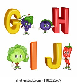 Fruit Alphabet. Letters  G H I J  . Vector Illustration of a Happy Grapes, Huckleberry, Ice Lettuce, Jalapeno Characters. Cute Cartoon Fruits and Veggies Isolated on White Background. Happy Fruits Set