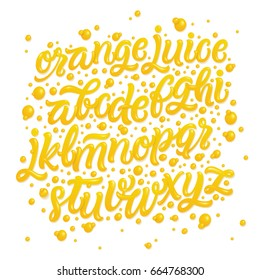 Fruit alphabet made of fresh natural orange juices isolated on white background. 3d glossy font with liquid letters for logo. Tropical juice font. Vector illustration made of orange juices.