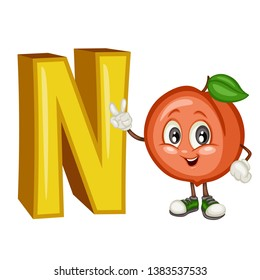 Fruit Alphabet. N is for Nectarine. Vector Illustration of a Happy Nectarine Character. Cute Cartoon Nectarine Isolated on a White Background. Happy Fruits Set
