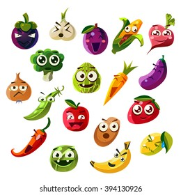 Fruit Ands Vegetable Emoji Set  Of Flat Vector Icons In Cartoon Style Isolated On White Background
