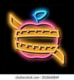 fruit apple measuring cord neon light sign vector. Glowing bright icon fruit apple measuring cord sign. transparent symbol illustration