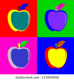Fruit apple pop art design illustration vector