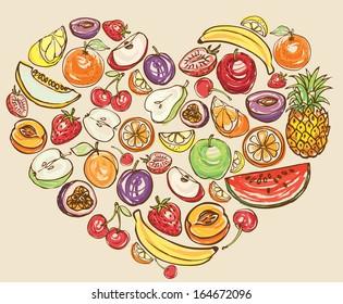 Fruit arranged in heart shape