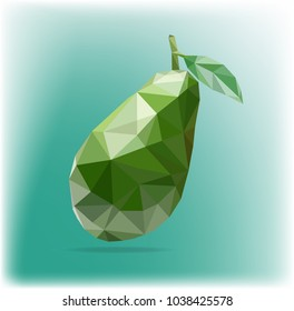 Fruit avocado low poly style. Delicious avocado polygonal geometric vector illustration isolated on blue and green background. Consists of avocado with a leaf on a background of emerald color in style