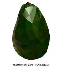 Fruit avocado low poly style. Delicious avocado polygonal geometric vector illustration