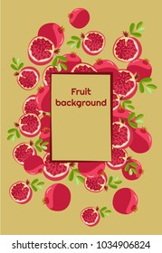 Fruit background of fresh colored whole pomegranates and halves with leaves and a frame for text