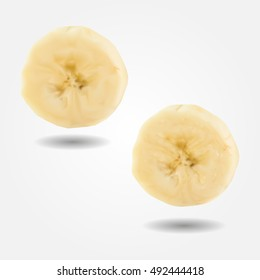 Fruit banana slice low and high resolution triangle mesh realistic vector eps10