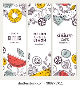 Fruit banner collection. Summer fruit banner set. Vector illustration