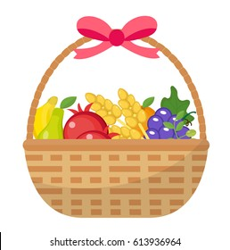 Fruit Basket icon, flat, cartoon style. Jewish holiday Shavuot, food concept. Pomegranate, grapes, wheat, olives. Isolated on white background. Vector illustration, clip-art