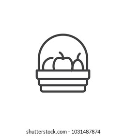 Fruit basket outline icon. linear style sign for mobile concept and web design. Harvest simple line vector icon. Symbol, logo illustration. Pixel perfect vector graphics