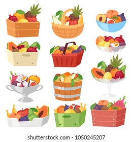 Fruit basket vector fruity apple banana and exotic papaya in box illustration fruitful set juicy orange with fresh slices of tropical dragonfruit in bowl isolated on white background