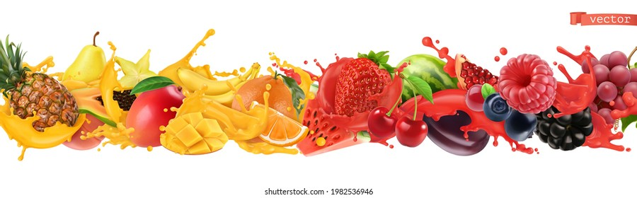 Fruit and berries burst. Splash of juice. Sweet tropical fruits and mixed berries. Watermelon, banana, pineapple, strawberry, orange, mango. 3d realistic objects