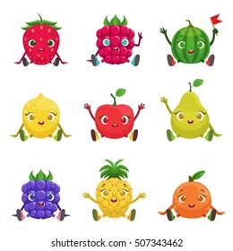 Fruit And Berries Cute Girly Characters Sitting And Waving