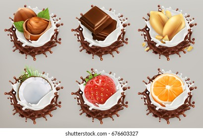 Fruit, berries and nuts. Milk and chocolate splashes, ice cream. 3d vector icon set.