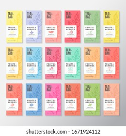 Fruit and Berries Tea Labels Collection. Abstract Vector Packaging Design Layouts Set with Realistic Shadows. Modern Typography, Hand Drawn Tea Leaves Silhouettes Background. Beverage Emblems Isolated
