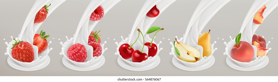 Fruit, berries and yogurt. Realistic illustration 3d vector icon set 4