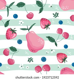 Fruit, berry and blossom seamless pattern. Summer girly striped background for textile, fabric, decorative paper. Vector