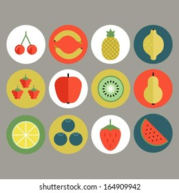 Fruit and berry icon set