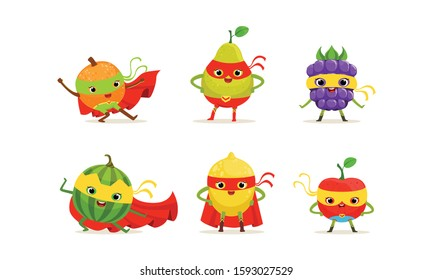Fruit and Berry Superheros Rushing to the Rescue Vector Set