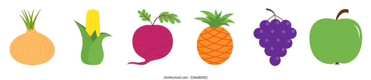 Fruit berry vegetable icon set line. Onion, sweet corn, beet, beetroot, pineapple, grape apple. Cute cartoon kawaii shape collection. Flat design. White background. Vector illustration
