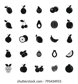 Fruit black silhouette icons set. Vector illustration of fruits and berries in silhouette stile. Object for advertising and web