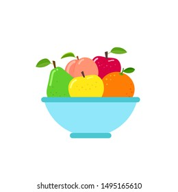 Fruit bowl in flat style. Vector illustration isolated on white background