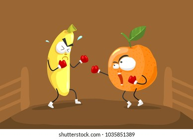 Fruit boxer cartoon