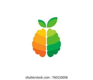 Fruit Brain Icon Logo Design Element