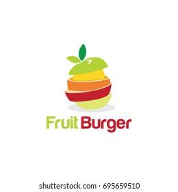 Fruit Burger Creative Concept Logo Symbol