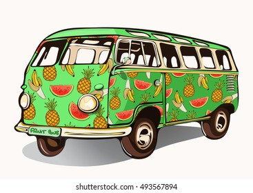 Fruit bus, vintage car, hippie transport with airbrushing. Green mini bus painted different fruits. Isolated retro vector illustration